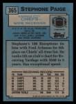 1988 Topps #365  Stephone Paige  Back Thumbnail