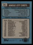 1988 Topps #361   Chiefs Leaders Back Thumbnail