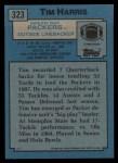 1988 Topps #323  Tim Harris  Back Thumbnail