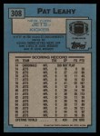 1988 Topps #308  Pat Leahy  Back Thumbnail