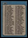 1988 Topps #395   Checklist 133-264 Back Thumbnail