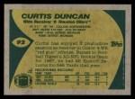 1989 Topps #92  Curtis Duncan  Back Thumbnail