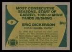 1989 Topps #3   -  Eric Dickerson Record Breaker Back Thumbnail