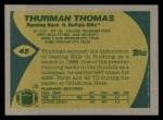 1989 Topps #45  Thurman Thomas  Back Thumbnail