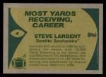 1989 Topps #4   -  Steve Largent Record Breaker Back Thumbnail