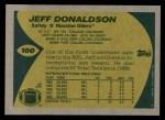 1989 Topps #100  Jeff Donaldson  Back Thumbnail