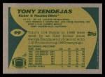 1989 Topps #99  Tony Zendejas  Back Thumbnail