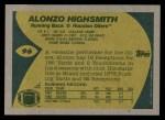 1989 Topps #96  Alonzo Highsmith  Back Thumbnail