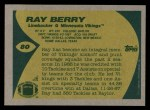 1989 Topps #80  Ray Berry  Back Thumbnail