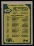 1989 Topps #193   Patriots Leaders Back Thumbnail