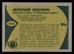 1989 Topps #113  Jerome Brown  Back Thumbnail