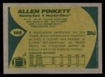 1989 Topps #105  Allen Pinkett  Back Thumbnail