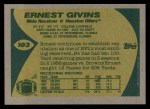 1989 Topps #103  Ernest Givins  Back Thumbnail