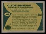 1989 Topps #109  Clyde Simmons  Back Thumbnail