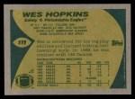 1989 Topps #111  Wes Hopkins  Back Thumbnail