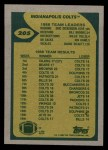 1989 Topps #205   Colts Leaders Back Thumbnail