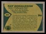 1989 Topps #211  Ray Donaldson  Back Thumbnail
