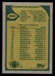 1989 Topps #250   Redskins Leaders Back Thumbnail