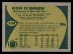 1989 Topps #228  Ken O'Brien  Back Thumbnail