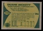 1989 Topps #208  Duane Bickett  Back Thumbnail