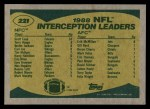 1989 Topps #221   Interception Leaders Back Thumbnail