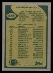 1989 Topps #238   Broncos Leaders Back Thumbnail