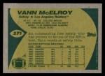 1989 Topps #271  Vann McElroy  Back Thumbnail