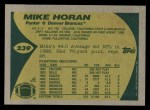1989 Topps #239  Mike Horan  Back Thumbnail