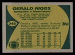 1989 Topps #342  Gerald Riggs  Back Thumbnail