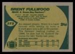 1989 Topps #372  Brent Fullwood  Back Thumbnail