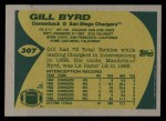 1989 Topps #307  Gill Byrd  Back Thumbnail