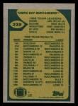1989 Topps #325   Buccaneers Leaders Back Thumbnail