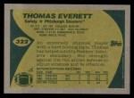1989 Topps #322  Thomas Everett  Back Thumbnail