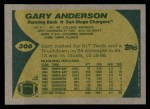 1989 Topps #306   -  Gary Anderson Record Breaker Back Thumbnail