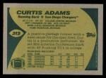 1989 Topps #312  Curtis Adams  Back Thumbnail