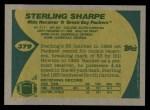1989 Topps #379  Sterling Sharpe  Back Thumbnail