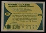 1989 Topps #311  Mark Vlasic  Back Thumbnail