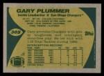 1989 Topps #305  Gary Plummer  Back Thumbnail