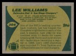 1989 Topps #304  Lee Williams  Back Thumbnail