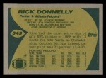 1989 Topps #345  Rick Donnelly  Back Thumbnail