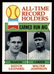 1979 Topps #418   -  Dutch Leonard / Walter Johnson All-Time Record Holders - ERA Front Thumbnail