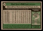 1979 Topps #455  Bill Lee  Back Thumbnail