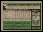 1979 Topps #497  Glenn Abbott  Back Thumbnail