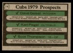 1979 Topps #716   -  Dave Geisel / Karl Pagel / Scott Thompson Cubs Prospects   Back Thumbnail