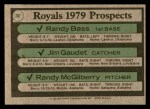 1979 Topps #707   -  Randy Bass / Jim Gaudet / Randy McGilberry Royals Prospects  Back Thumbnail