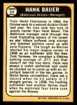 1968 Topps #513  Hank Bauer  Back Thumbnail