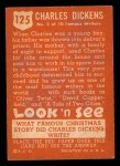 1952 Topps Look 'N See #125  Charles Dickens  Back Thumbnail