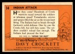 1956 Topps Davy Crockett #14 ORG  Indian Attack  Back Thumbnail