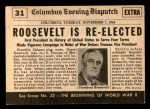 1954 Topps Scoop #31   Roosevelt Wins 4th Term Back Thumbnail