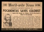 1954 Topps Scoop #150   Pocahontas Saves Colonist Back Thumbnail